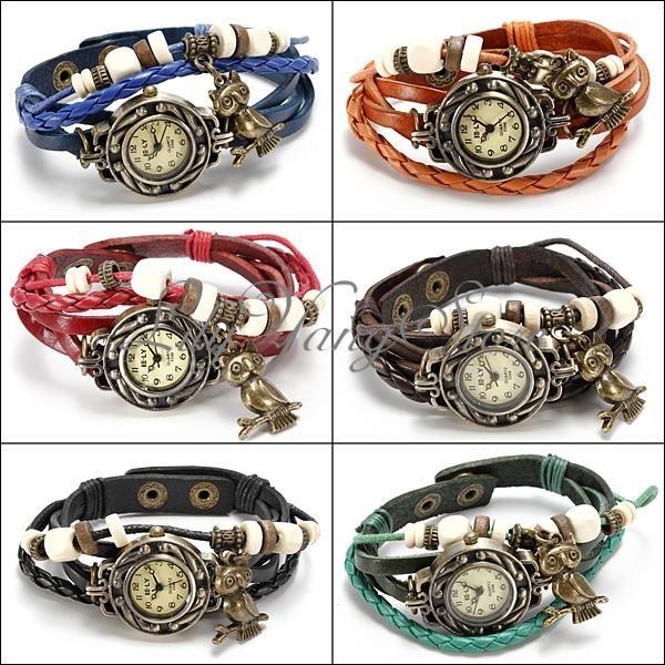 10067ce11e63 Reloj De Pulsera Mujer Con Cuero Cuarzo Brazalete Búho Vintage Estilo Watch  Owl