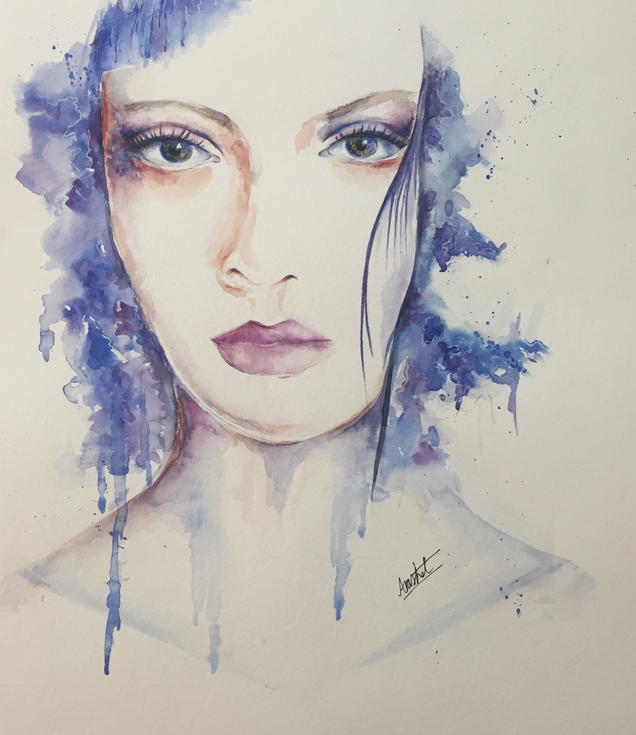 Hesitation Painting Watercolor Portrait Face Girl Portrait