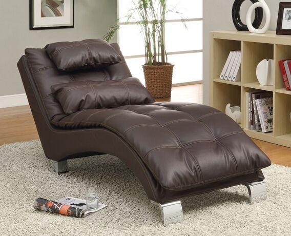 550076 Wildon Home Dilleston Dark Brown Leather Like Vinyl Tufted