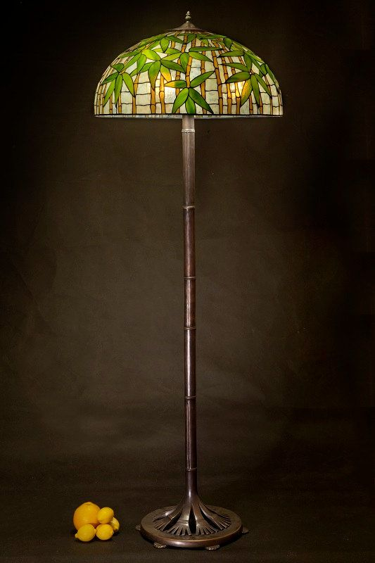 Tiffany floor lamp bamboo big floor stained glass by for Tiffany bamboo floor lamp