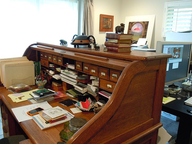 My Desk Is An Old Oak Rolltop Desk With Lots Of Nice Little Storage Drawers Mostly I Work Behind My Desk On Another Desk That Has My Comp