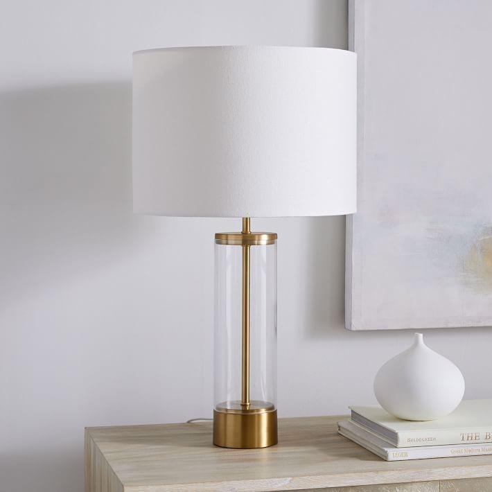Acrylic Column Table Lamp Usb Antique Brass In 2020