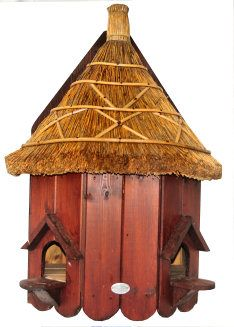 Thatched Roof Wall Mounted Dovecote For Up To Two