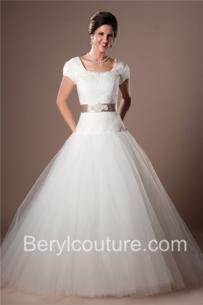 Ball Gown Square Neckline Sleeved Drop Waist Tulle Modest Wedding ...