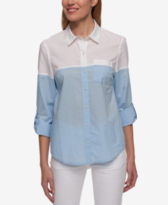 TOMMY HILFIGER Tommy Hilfiger Cotton Colorblocked Shirt, Only At Macy'S. #tommyhilfiger #cloth # tops