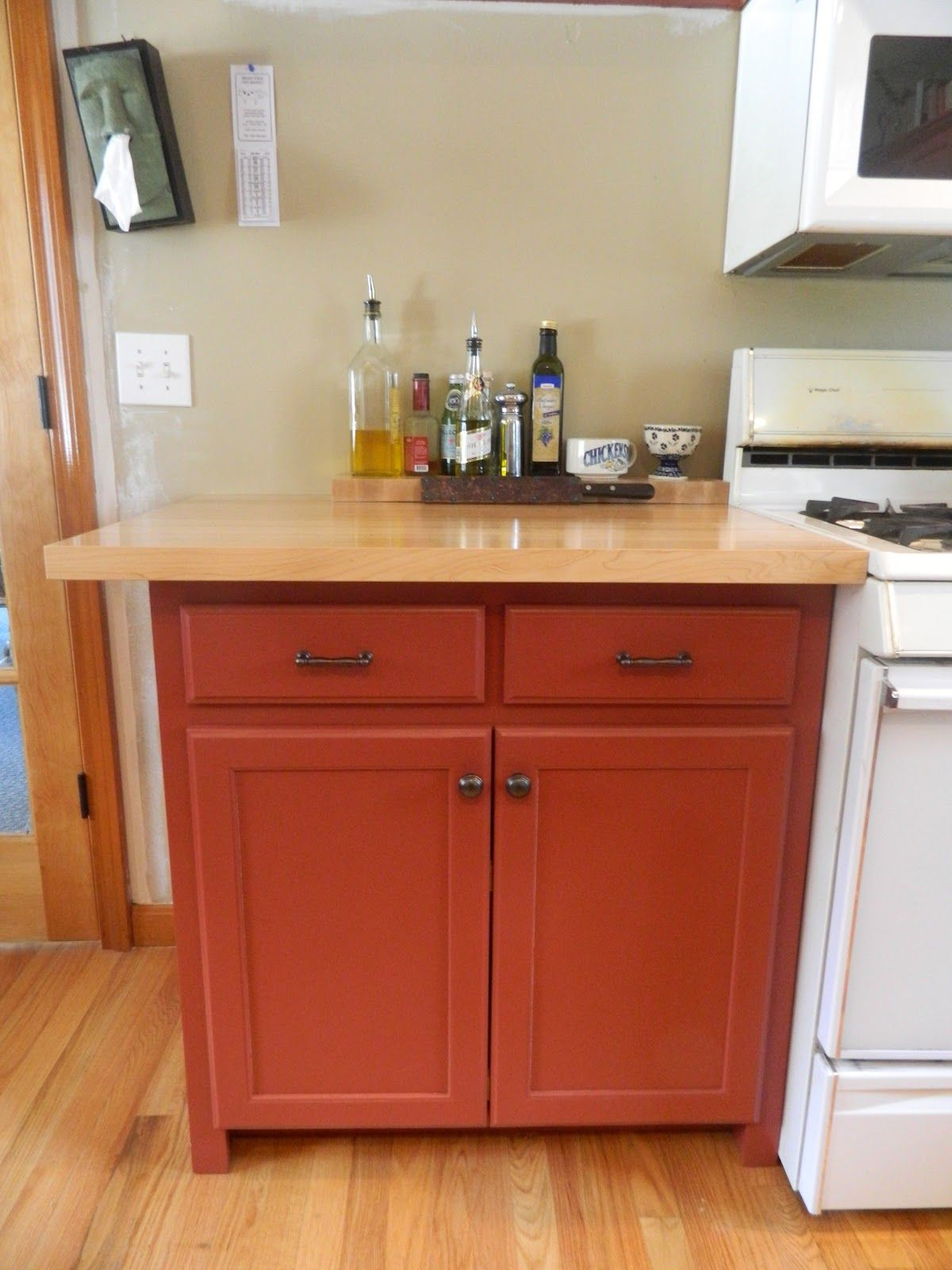 Awesome Barn Red Kitchen Cabinets Special Picture