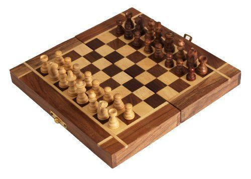 """15/"""" Standard Game Wooden Chess Set Pieces Magnet Portable Hand Carved Board Box"""