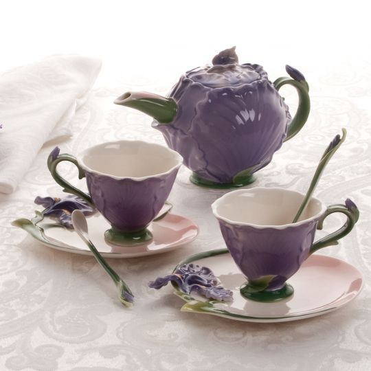 This handcrafted porcelain tea set for two is perfect for the tea loving couple.