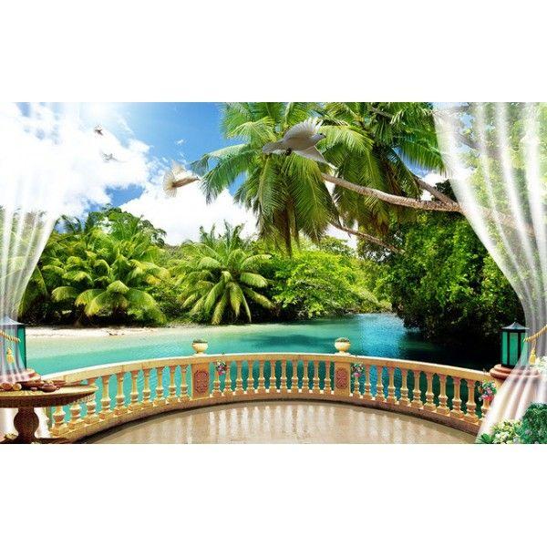 papier peint trompe l 39 oeil effet 3d extension d 39 espace paysage tropical id es pour la maison. Black Bedroom Furniture Sets. Home Design Ideas