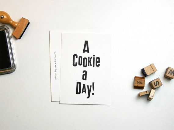 A Cookie A Day Postcard by smallcapsberlin on etsy