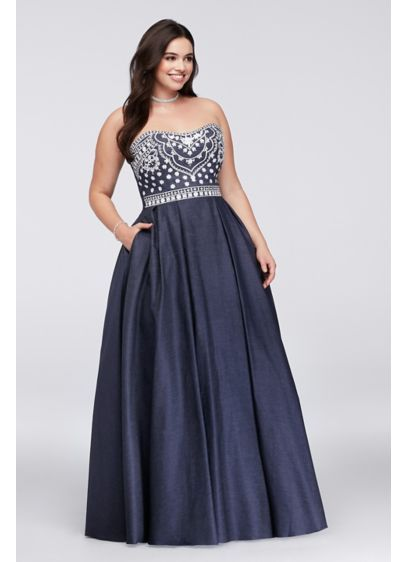 Long Ballgown Strapless Formal Dresses Dress - Betsy and Adam ...