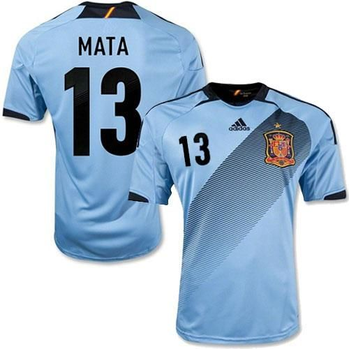 Spain #13 Mata Blue Away Soccer Country Jersey! Only $21.50USD