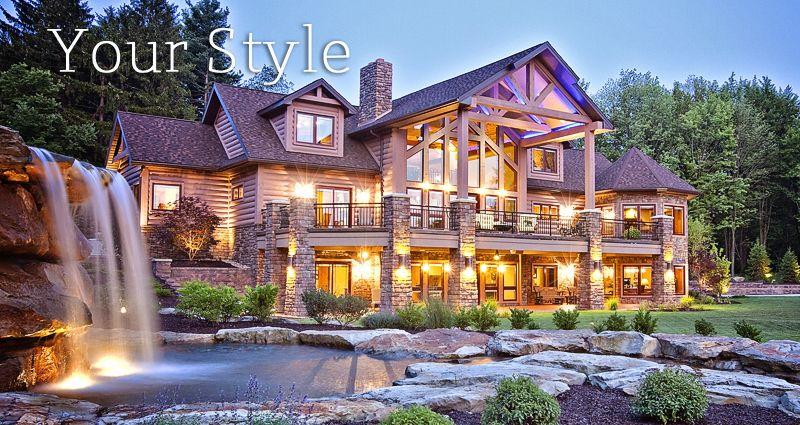 Exterior covered porch. Log Homes, Log Home Floor Plans, Timber ...