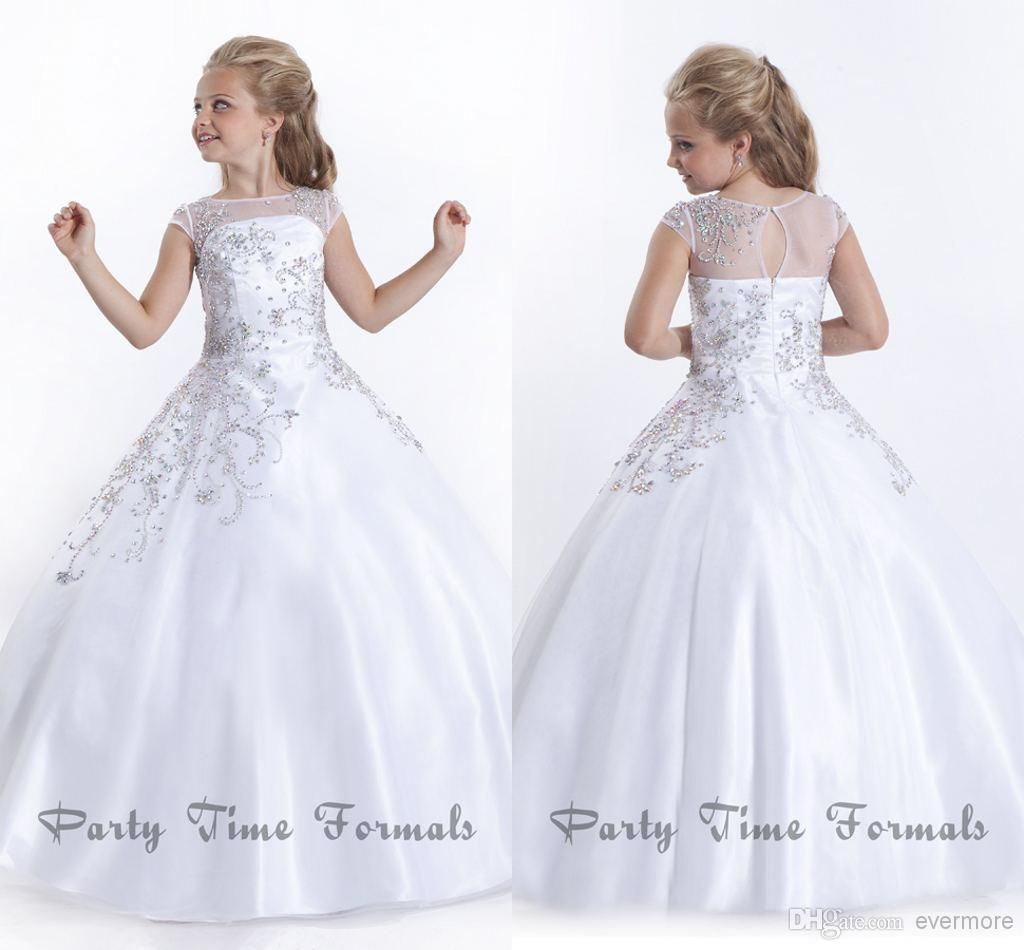 Cheap White 2014 Flower Girl Dresses Jewel Sweep Train Glitz ...