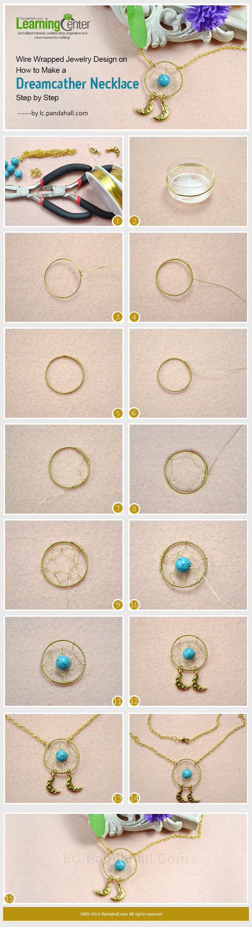 Wire Wrapped Jewelry Design on How to Make a Dreamcather Necklace with Turquoise Step by Step