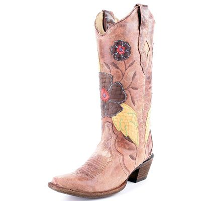 Corral Daisy Inlay Cowboy Boots. YES. I'm getting PINK cowboy boots :)
