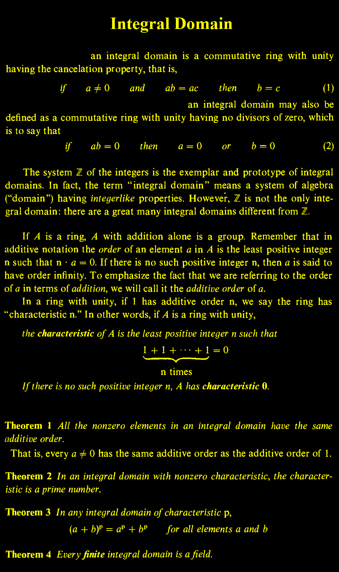 Integral Domain Advanced Mathematics Mathematics Worksheets Physics And Mathematics