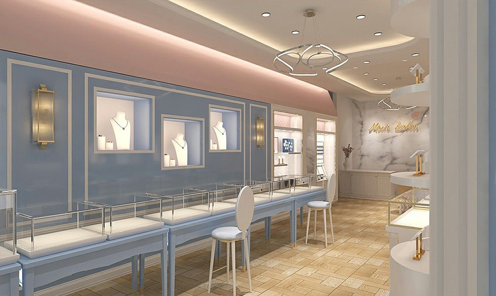 Marie Balan Jewelry Brand Retail Store Image Design It Is A Minimalist And Light Luxury Style Which Has Re Jewelry Store Displays Jewerly Store Store Display