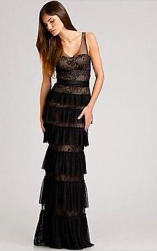 4f319299ba6d $498 BCBG MaxAzria Black Mesh Lace Tiered Evening Gown Prom Dress Size 2 XS  | eBay
