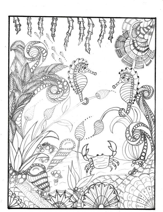 COLORING page for grownups!! Underwater seascape zentangle ...