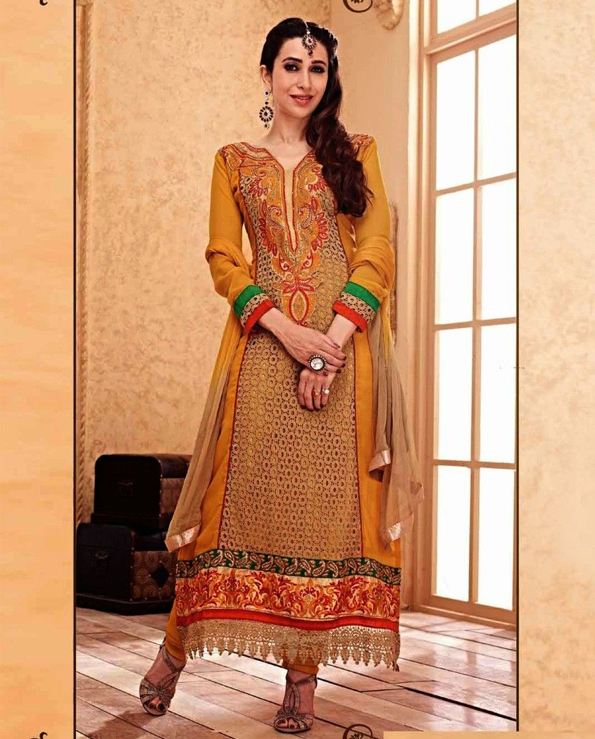 235315aec17 Mustard yellow embroidered suit with heavy embroidery 1. Mustard yellow  poly georgette embroidered suit2. Comes with matching santoon bottom and  chiffon ...