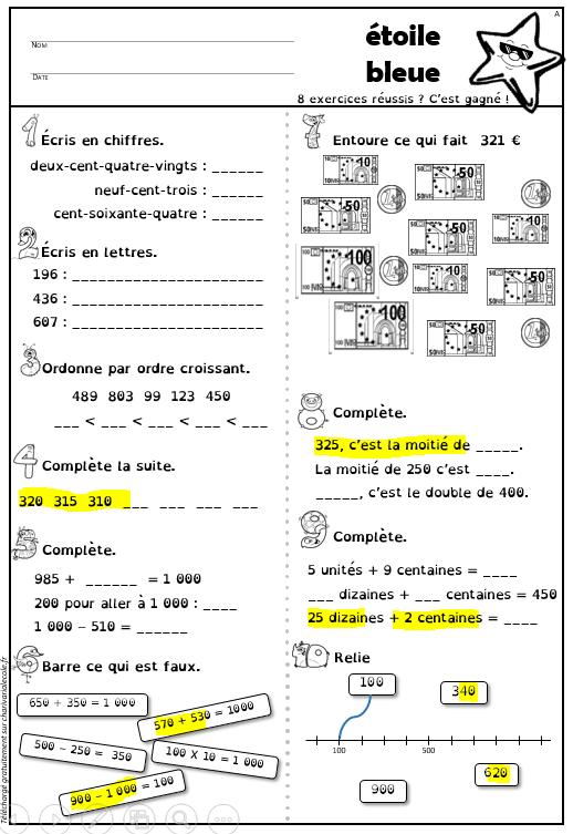 Étoiles de numération (CE1 CE2) avec version belge - Charivari à l'école | Numération ce1, Ce1 ...