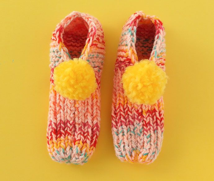 Knitted Pom Pom Slippers Yarns Patterns And Fiber Art