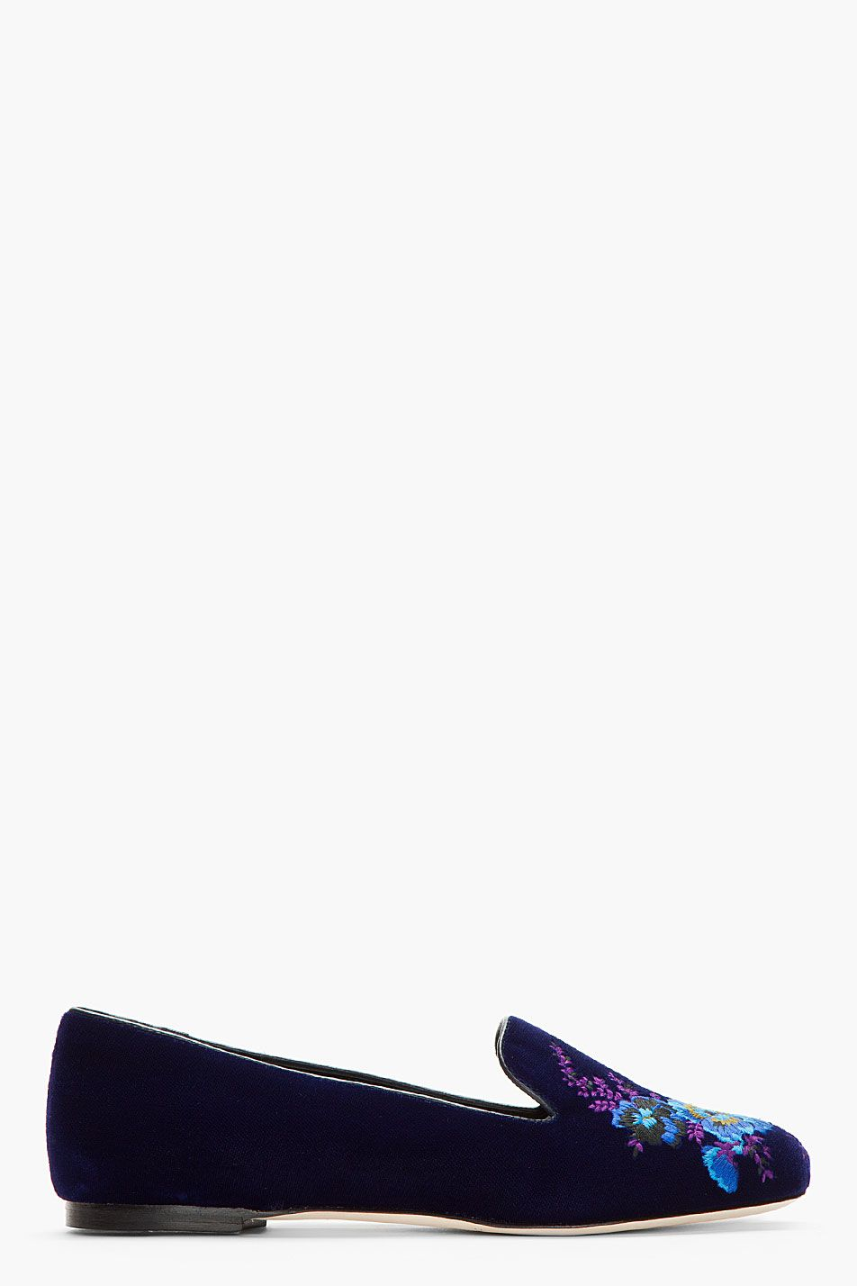 CHRISTOPHER KANE Indigo velvet Bouquet Embroidered Slippers