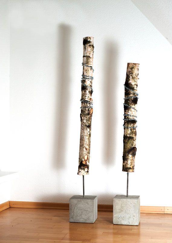 wood dekobaum jung und grau betonm bel und wohnaccessoires aus beton concrete pinterest. Black Bedroom Furniture Sets. Home Design Ideas