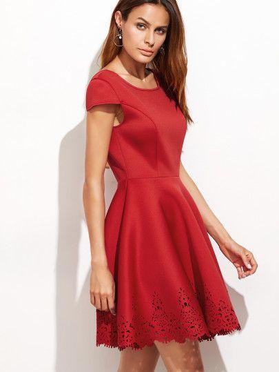 633f42e917d6 Red Laser Cutout Tied Open Back Skater Dress | Dresses | Dresses ...