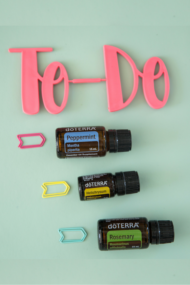 To-Do Diffuser blend: 5 drops Peppermint, 3 drops Helichrysum, and 2 drops Rosemary.