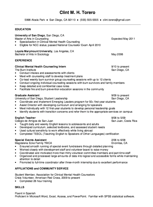 mental health counselor resume objective resume ideas