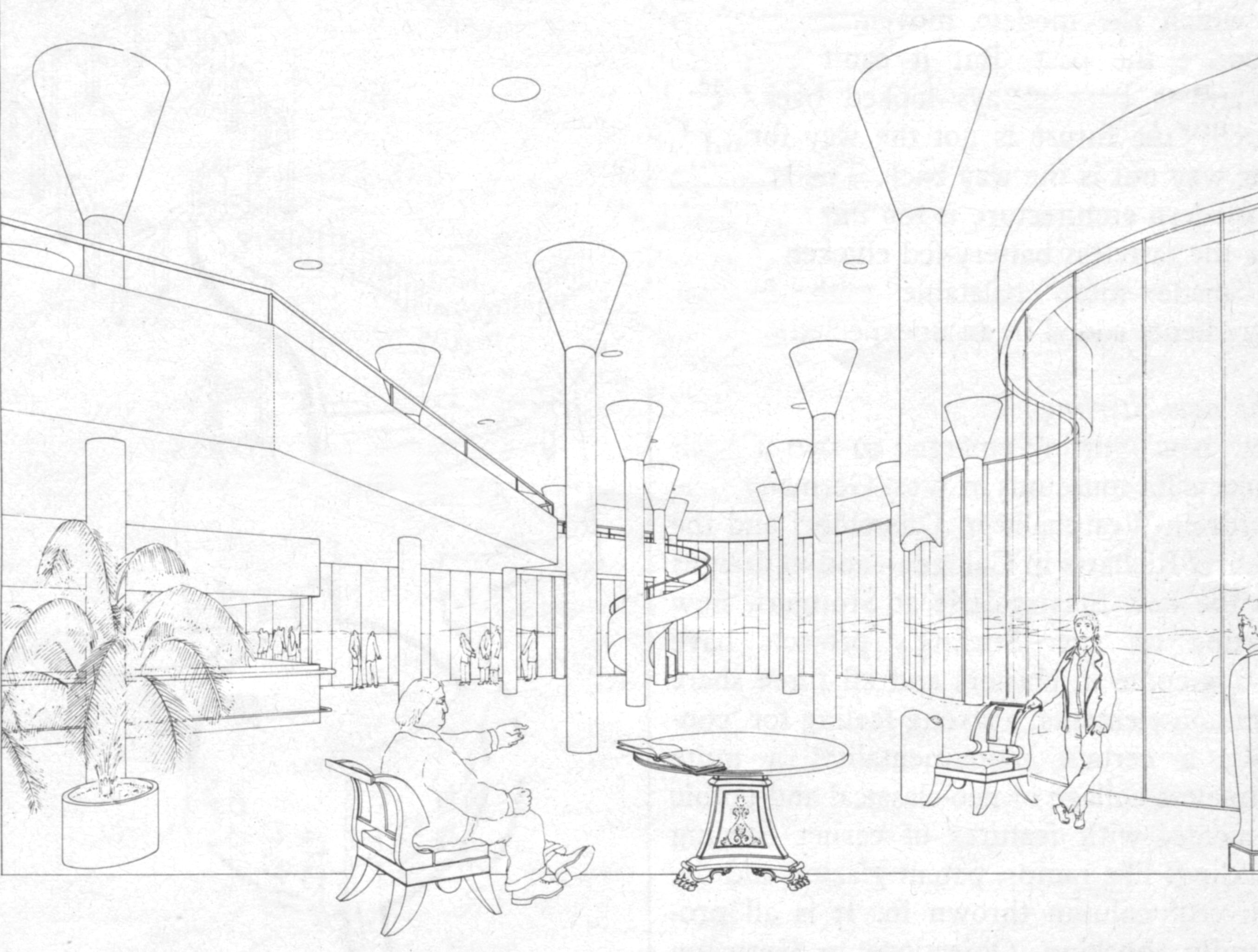 James Stirling, Olivetti Headquarters. Sketch by Leon