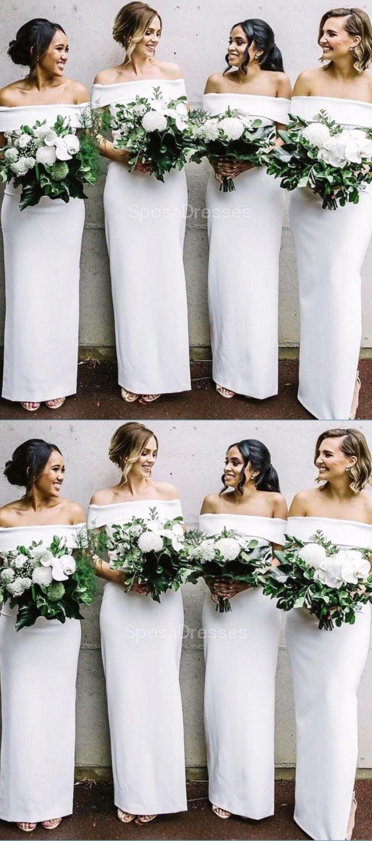 Off White Mermaid Long Bridesmaid Dresses Online In 2020 Off Shoulder Bridesmaid Dress White Bridesmaid Dresses Long Simple Bridesmaid Dresses