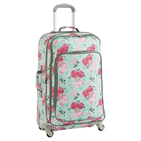 Jet Set Garden Party Floral Checked Spinner Personalized