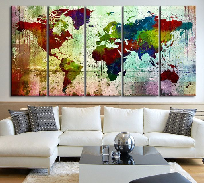 Very colorful world map canvas print on colorful wall ink splash very colorful world map canvas print on colorful wall ink splash watercolor world map multipanel gumiabroncs Images
