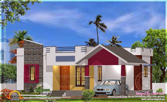 Stylish 900 Sq Ft New 2 Bedroom Kerala Home Design with Floor Plan