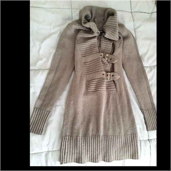 Adorable grey sweater dress Never worn, bought from Rue 21, it is stretchy and you can adjust the belts in the front of needed:) Rue 21 Dresses Mini