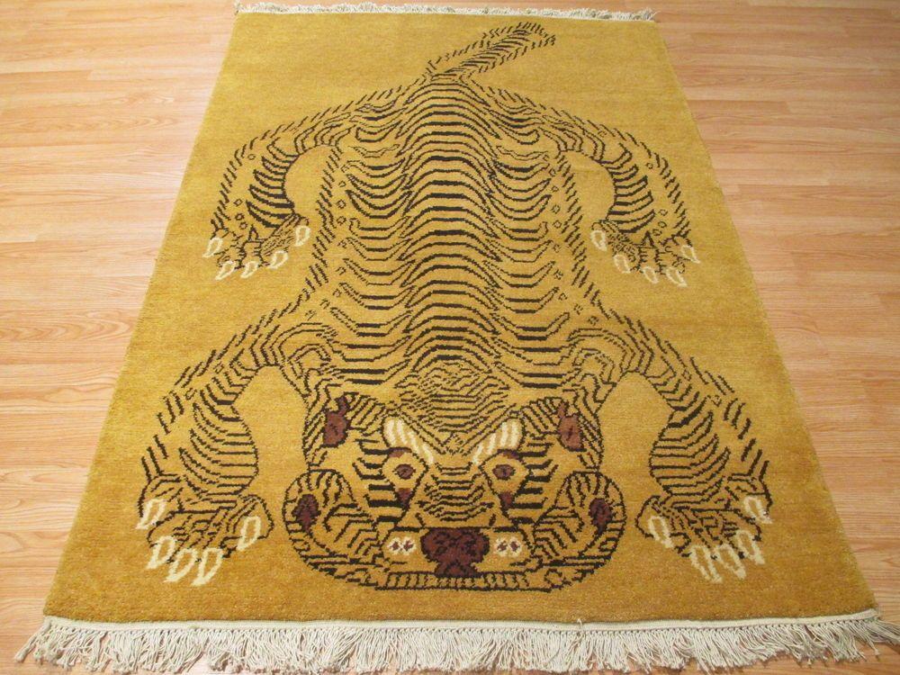 5x7 Amazing Tibetan Tiger Natural Vegetable Dye Hand-made-knotted Wool Rug #TibetanTiger
