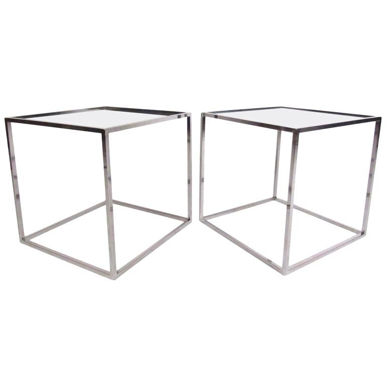 Pair Of Contemporary Modern Chrome Cube End Tables In 2019