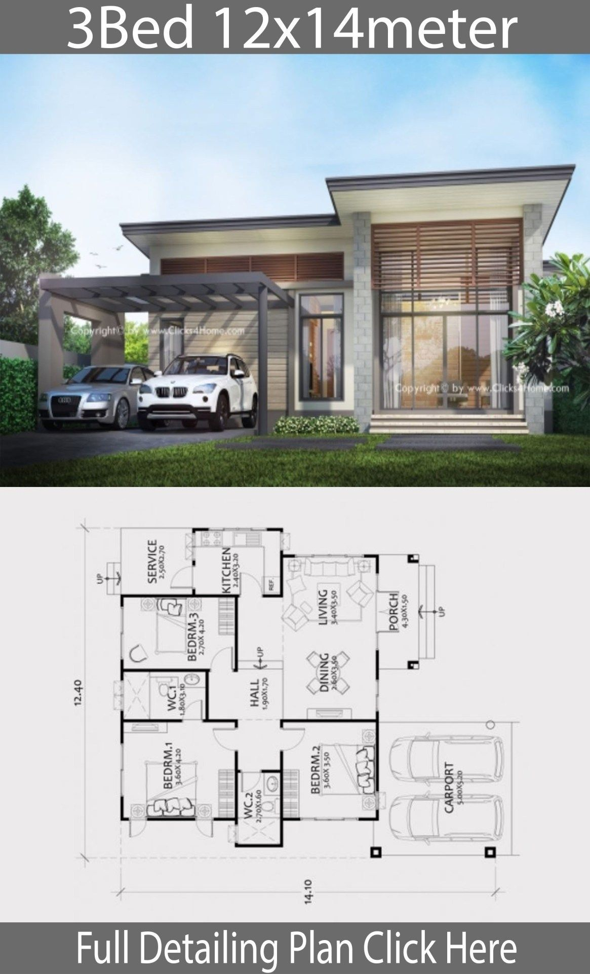 Home Design Plan 12x14m With 3 Bedrooms Home Design With Plansearch Wohnung Hausdekoration Small Modern House Plans Model House Plan Modern Bungalow House