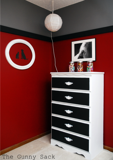 Son wants black and red bedroom thinking of doing grey on for Red bedroom paint