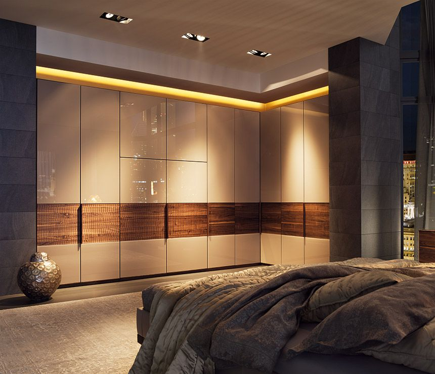 Luxury Made To Order Wardrobes Shown In Walnut And Glass