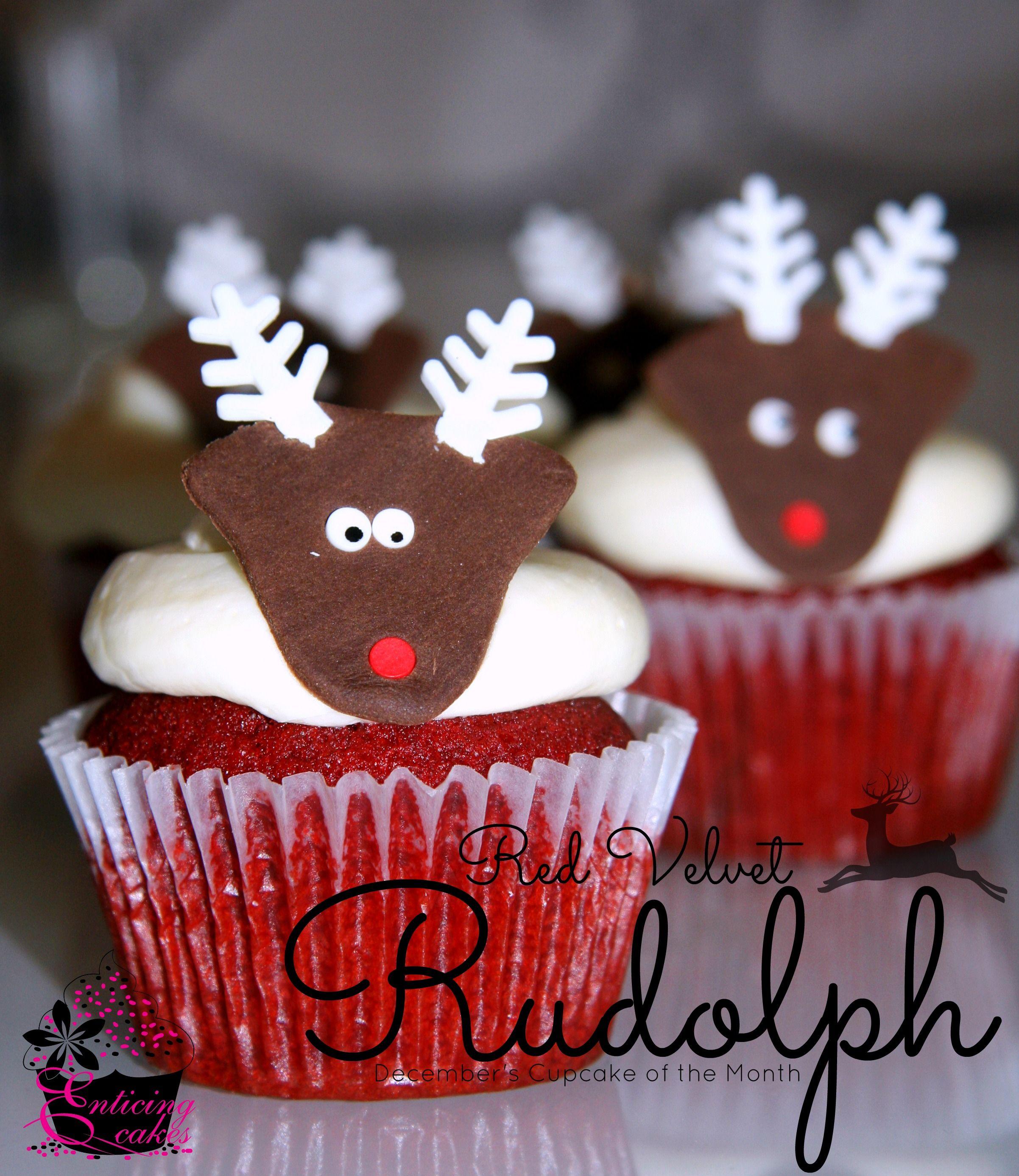 Red Velvet Rudolph Cupcakes