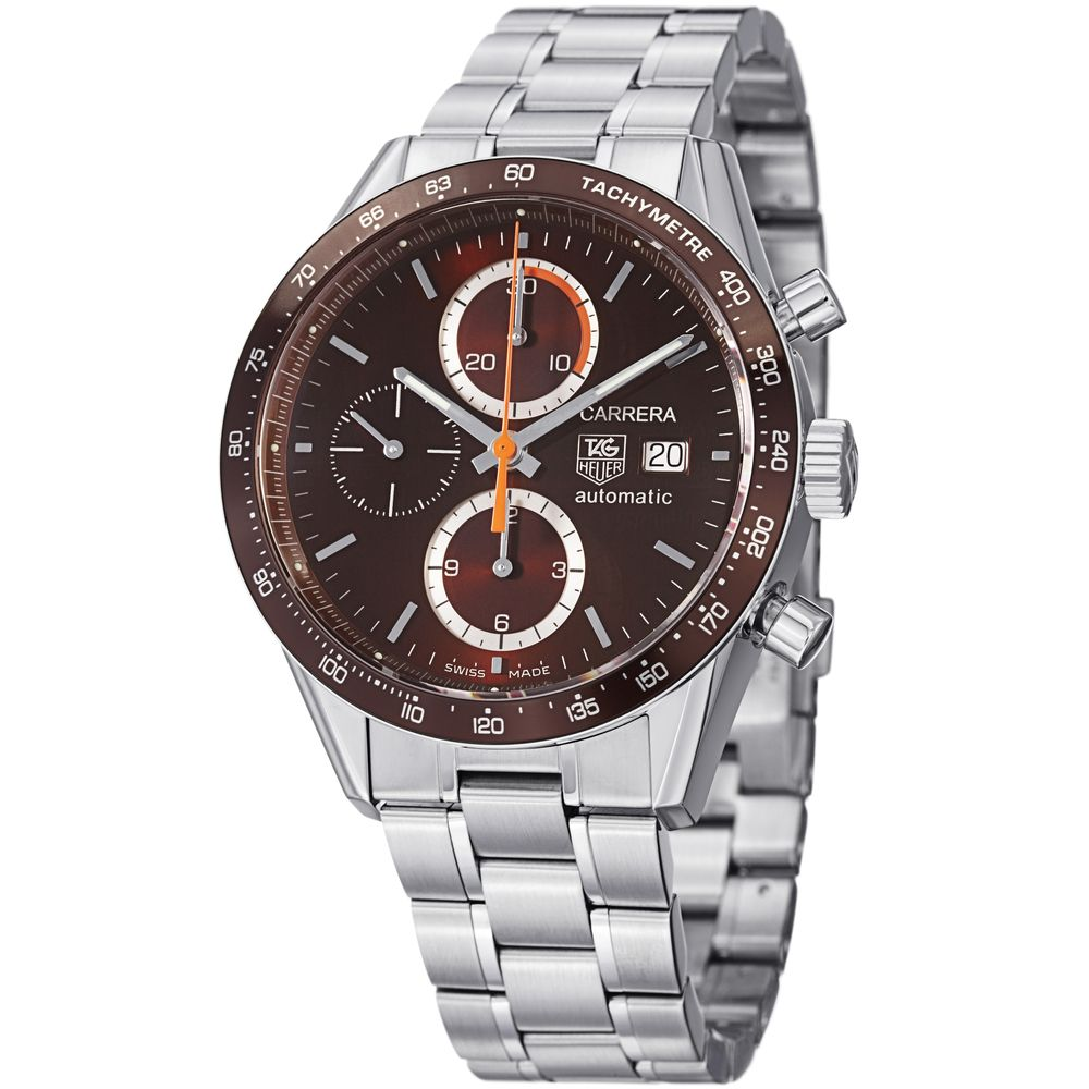 Tag heuer men 39 s cv2013 ba0794 39 carrera 39 brown dial stainless steel automatic watch apparel for Tag heuer discount