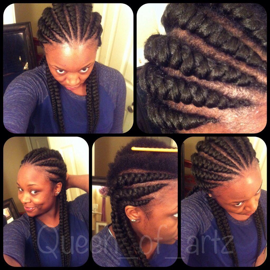 Large Ghana Cornrow Braids  Hair: Xpressions Braiding Hair