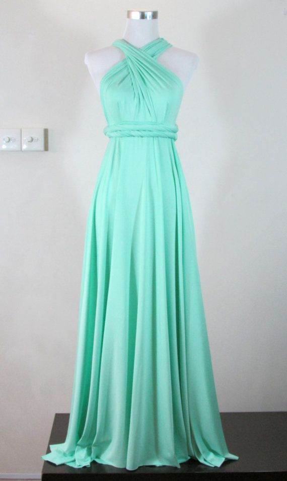 Full length floor length pastel mint green by for Mint green wedding dress