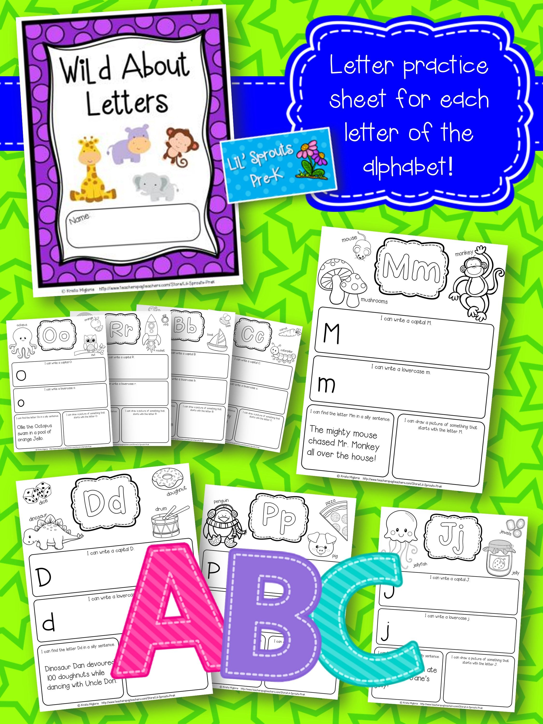 Alphabet/Letter Journal A-Z No Prep Worksheets Pre-K & Kindergarten ...