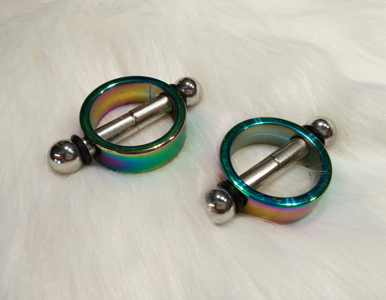 Rainbow Anodized Titanium MAGNETIC Nipple Clamps Nipple Toy BDSM