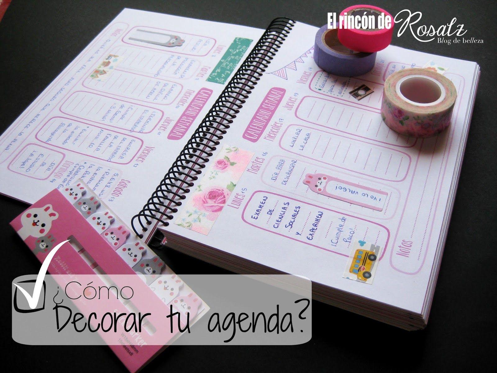 El rinc n de rosalz c mo decorar tu agenda agendas molonas pinterest - Como decorar una agenda ...